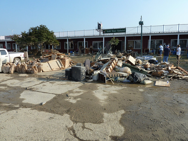 Debris from inside store waiting for pick up